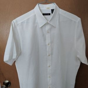 Kenneth Cole NY White Shirt Short Sleeve Linen